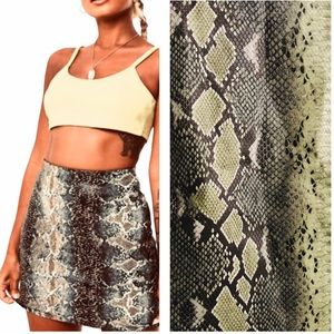 Missguided green snake skin print mini skirt